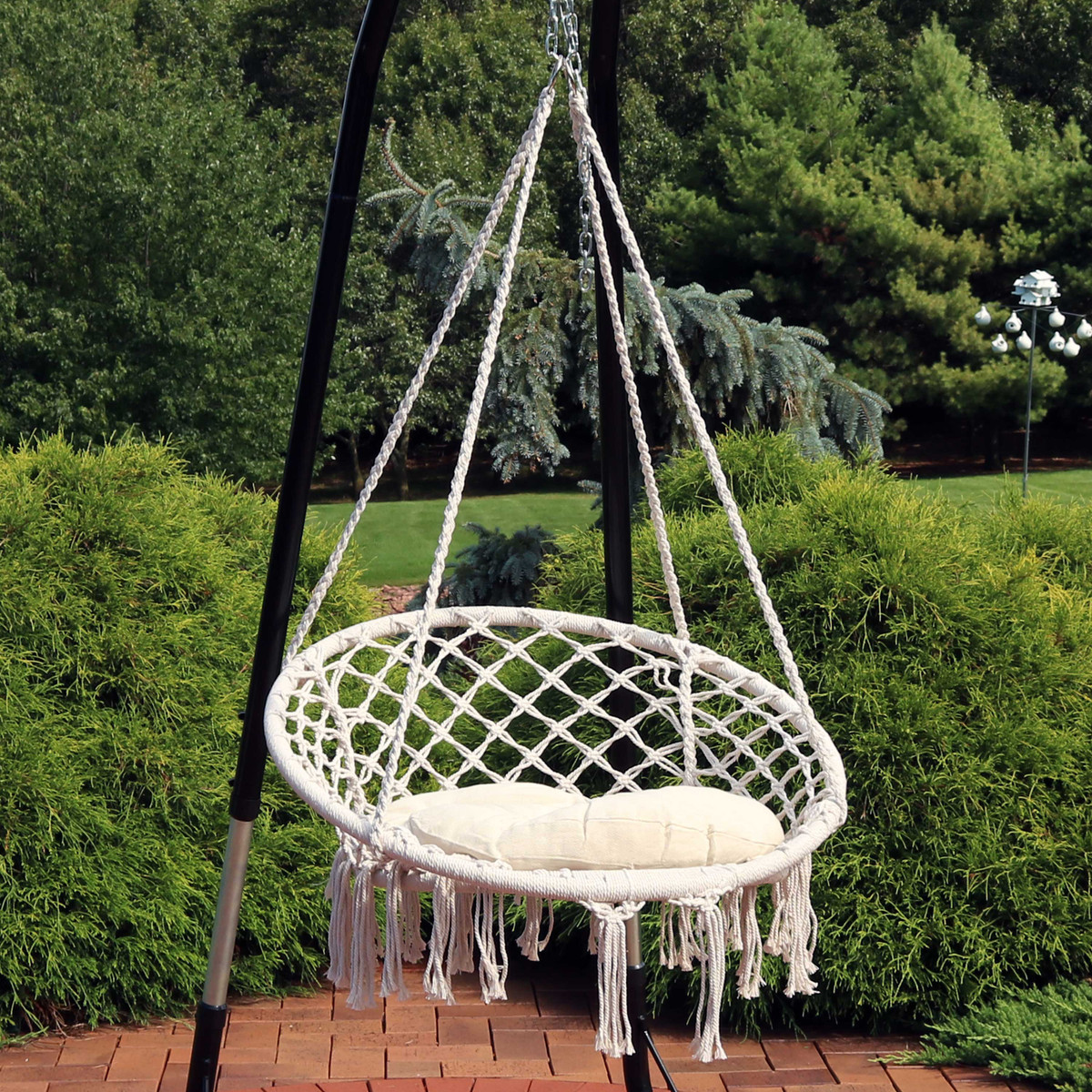 Sunnydaze Hammock Chair Bohemian Macrame Hanging Netted Swing With Seat Cushion And Tassels Mounting Hardware Included Indoor Or Outdoor Use