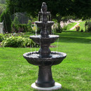 4-Tiered Pineapple Electric Outdoor Water Fountain, Black