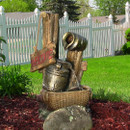 Country Welcome Outdoor Water Fountain w/LED Lights by Sunnydaze Decor