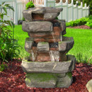 Sunnydaze Outdoor Electric Large Rock Quarry Waterfall Fountain with LED Lights, 31 Inch Tall