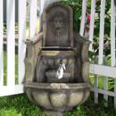 Sunnydaze Regal Lion Head Outdoor Corner Floor Fountain with LED Lights, 39.5 Inch Tall