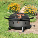 Sunnydaze 30 Inch Stars and Moons Wood Burning Fire Pit with Wood Grate and Spark Screen