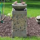 Sunnydaze Birdbath Basin on Pedestal Outdoor Garden Water Fountain, 29 Inch Tall
