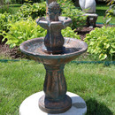 Sunnydaze 2-Tiered Patina Pineapple Garden Water Fountain, 29 Inch Tall