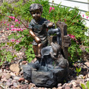 Boy and Puppy Filling Bucket at Water Pipe Outdoor Fountain, Outdoor