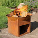 Rustic Cast Iron Fire Pit Bowl with Built-In Log Holder