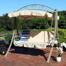 Sunnydaze Deluxe Steel Frame Beige Cushioned Garden Swing with Canopy, 2 Person, for Patio, Deck or Yard