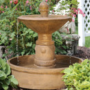 Sunnydaze Scrolled Vessel 2-Tier Outdoor Water Fountain, 28-Inch Tall