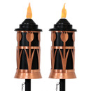 Copper Outdoor Torch with Tulip Jar Design, Set of 2