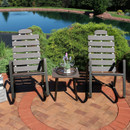 All-Weather Faux Wood Design Slatted Rocking Chair and Side Table 3-Piece Set