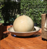 Ball and Wok Outdoor Water Fountain