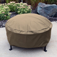 Sunnydaze Heavy-Duty Weather-Resistant Round Fire Pit Cover with Drawstring and Toggle Closure, Size and Color Options Available