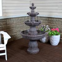 Mediterranean 4-Tiered Outdoor Water Fountain