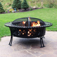 Diamond Weave Large Patio Fire Pit with Spark Screen, 40 Inch Diameter, by Sunnydaze Decor