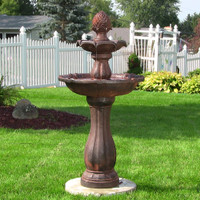 Sunnydaze 2-Tier Pineapple Solar Fountain with Battery Backup, Rust Finish, 46 Inch Tall