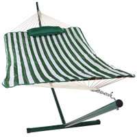 Green/White Stripe Rope Hammock and Stand Combo