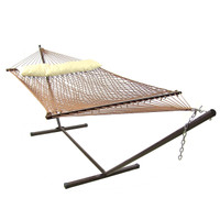Sunnydaze 2 Person Polyester Spreader Bar Rope Hammock and Pillow with 15 Foot Steel Stand, Brown