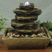 Sunnydaze Cascading Rocks Tabletop Fountain with LED Lights, 12 Inch Tall