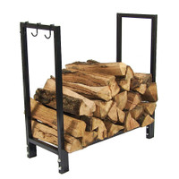 Sunnydaze 30 Inch Black Steel Indoor/Outdoor Firewood Log Rack
