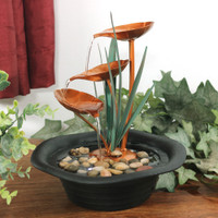 Sunnydaze Three Leaf Cascading Tabletop Water Fountain, 10 Inch Tall