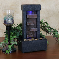 Tiered Shelves Lighted Tabletop Fountain