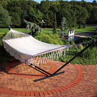 DeLuxe American Style 2 Person Hammock with Spreader Bars and 15 Foot Hammock Stand, Cream