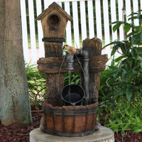 Sunnydaze Bird House Leaking Pipe Outdoor Water Fountain with LED Light, 29 Inch Tall