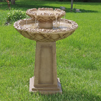Beveled Flower 2-Tier Birdbath Water Fountain