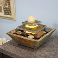 Ascending Slate Tabletop Water Fountain with LED Light