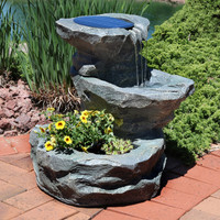 Solar Garden Outdoor Water Fountain with Planter--Plants not included