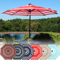 Solar LED Lighted 9 Foot Aluminum Umbrella Color Options