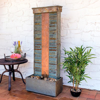 Rippled Slate Indoor/Outdoor Water Fountain with Copper Accents and LED Spotlight
