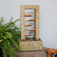 5-Tiered Copper and Slate Flowing Gardens Indoor Tabletop Water Fountain