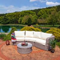 Sunnydaze Mollendo Wicker Rattan 4-Piece Sofa Sectional Patio Furniture Set with Beige Cushions