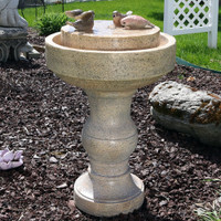 Sunnydaze Feathered Friends Outdoor Bird Bath Water Fountain, 22 Inch Tall