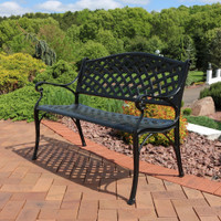 Sunnydaze 2-Person Checkered Cast Aluminum Garden Bench, Black