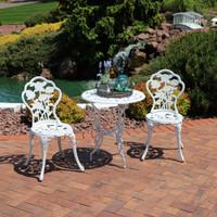 Sunnydaze 3-Piece White Flower Designed Cast Aluminum Bistro Set