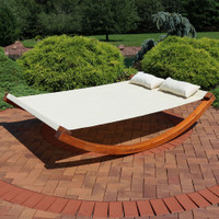 Sunnydaze Natural Colored Outdoor 2 Person Wooden Lounger Bed, Perfect for Patio or Poolside