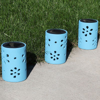 Blue Ceramic Jar Style Solar Light with Flower Cutouts