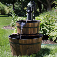 Rustic 2-Tier Wood Barrel Water Fountain with Hand Pump