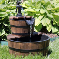 Country 2-Tier Wood Barrel Water Fountain with Hand Pump