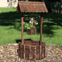 Wood Wishing Well Outdoor Garden Planter