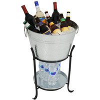 Sunnydaze Ice Bucket Drink Cooler with Stand and Tray