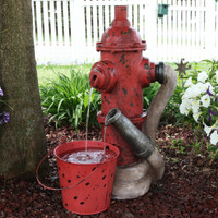 Fire Hydrant and Hose Outdoor Water Fountain with Bucket