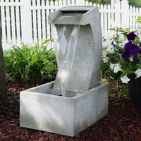 Sunnydaze Modern Arched Waterfall Outdoor Fountain, 24-Inch Tall