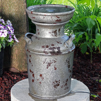 Farmhouse Vintage Milk Can Birdbath Outdoor Fountain