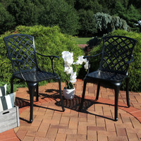 Set of 2 Cast Aluminum Patio Chairs with Crossweave Design