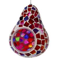 Ruby Mosaic Glass Outdoor Hanging Bird Feeder