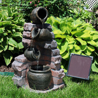 Sunnydaze Crumbling Bricks and Pots Solar with Battery Backup LED Outdoor Water Fountain, 27-Inch Tall