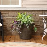 Sunnydaze Arabella Swirling Vines Indoor and Outdoor Resin Planter, Sable Finish, 20-Inch Diameter